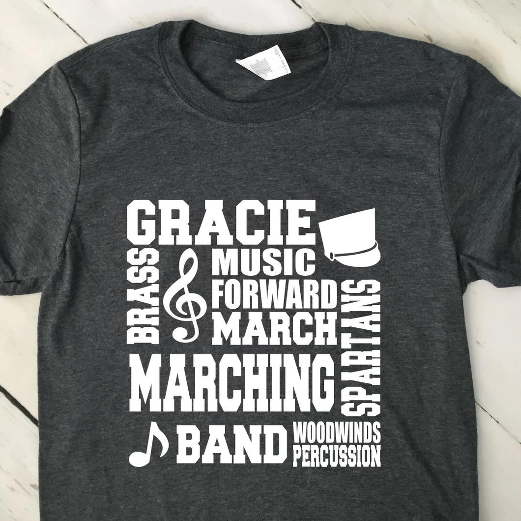 Personalized Marching Band Subway Art T Shirt 22622