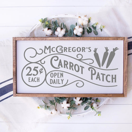 McGregors Carrot Patch Easter Painted Wood Sign White Board