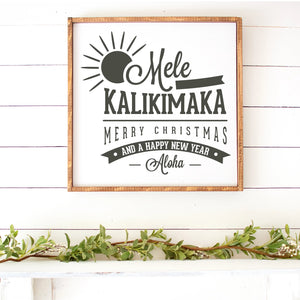 Mele Kalikimaka Hand Painted Christmas Sign White Board Charcoal Lettering