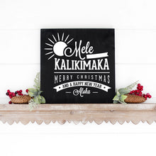 Load image into Gallery viewer, Mele Kalikimaka Hand Painted Wooden Sign Black Board White Lettering
