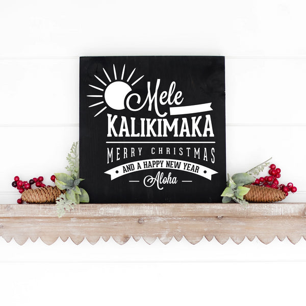 Mele Kalikimaka Hand Painted Wooden Sign Black Board White Lettering