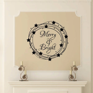 Merry And Bright Inside Star Wreath Vinyl Wall Decal 22601