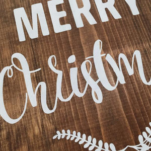 Merry Christmas Painted Wood Sign