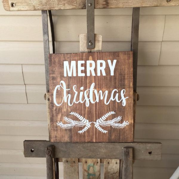 Merry Christmas Painted Wood Sign Dark Walnut Stain White Lettering