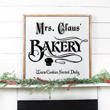 Load image into Gallery viewer, Mrs Claus Bakery Hand Painted Wood Sign White Sign Black Lettering