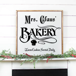 Mrs Claus Bakery Hand Painted Wood Sign White Sign Black Lettering
