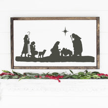 Load image into Gallery viewer, Christmas Nativity Scene Painted Wood Sign White Board Charcoal Image