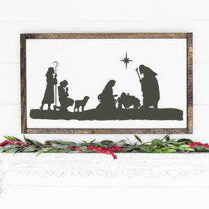 Christmas Nativity Scene Painted Wood Sign White Board Charcoal Image