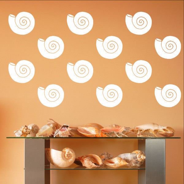 Nautilus Sea Shells Vinyl Wall Decals - Set of 5 Inch Sea Shell Decals 22576 - Cuttin' Up Custom Die Cuts - 1