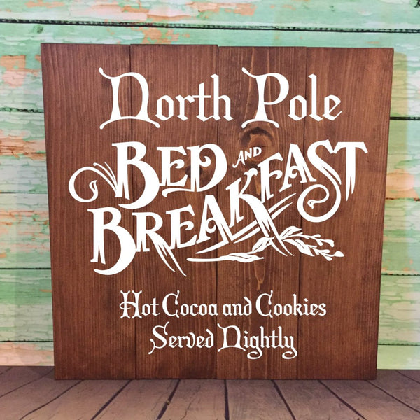 North Pole Bed And Breakfast Large Hand Painted Wood Sign