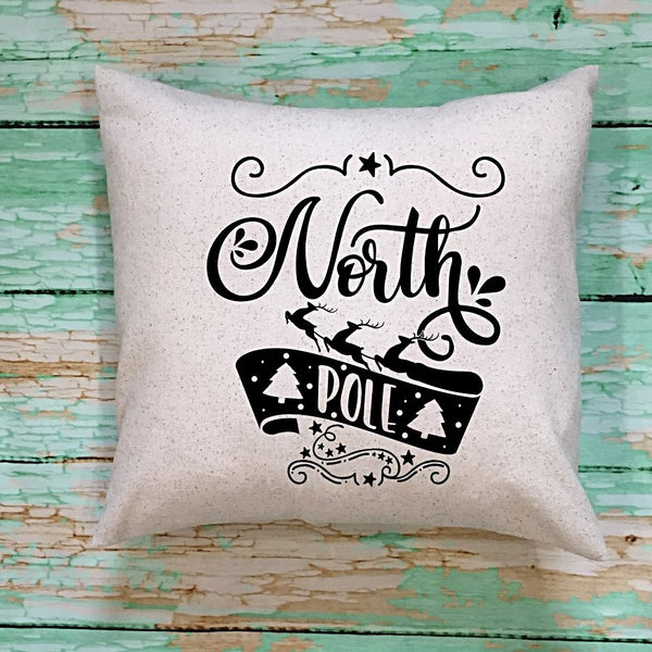 North Pole Throw Pillow Cover Cream And Black