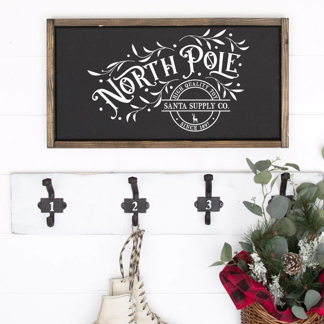 North Pole Santa Supply Company Painted Wood Sign Black Board White Lettering