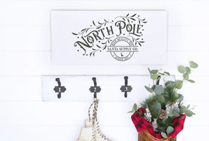 North Pole Santa Supply Company Painted Wood Sign White Board Charcoal Lettering