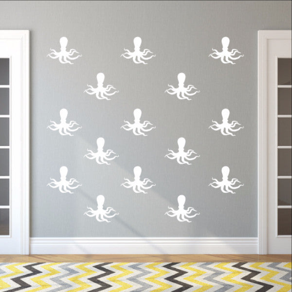 Octopus Style C Set of 6 Inch Vinyl Wall Decals 22568 - Cuttin' Up Custom Die Cuts - 1
