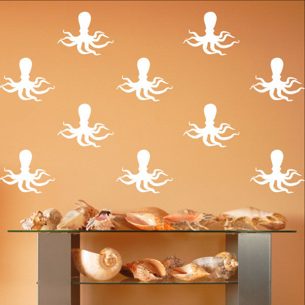 Octopus Style C Set of 6 Inch Vinyl Wall Decals 22568 - Cuttin' Up Custom Die Cuts - 2