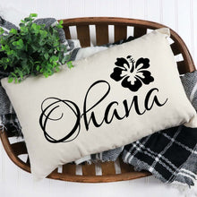 Load image into Gallery viewer, Ohana Throw Pillow Cover White With Black Lettering