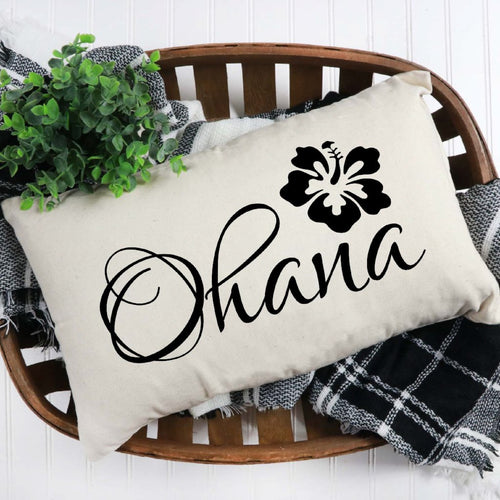 Ohana Throw Pillow Cover White With Black Lettering