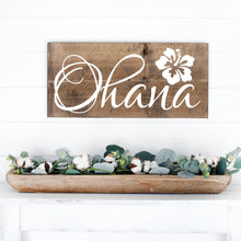 Load image into Gallery viewer, Ohana Hand Painted Wood Sign Dark Walnut Stain White Lettering