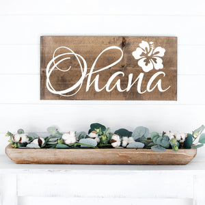 Ohana Hand Painted Wood Sign Dark Walnut Stain White Lettering