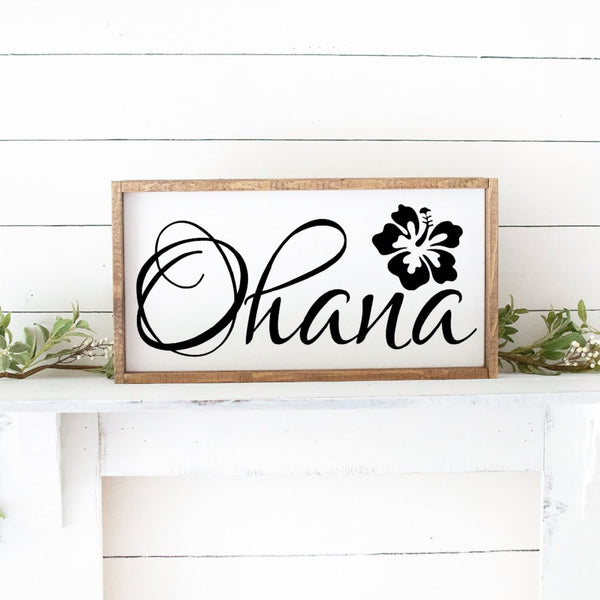 Ohana Hand Painted Framed Wood Sign White Paint Black Lettering