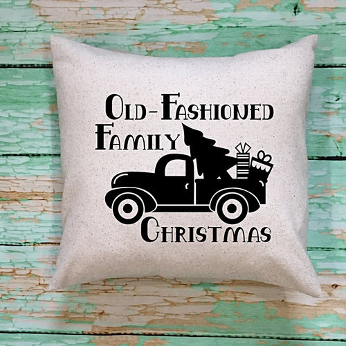 Old Fashioned Family Christmas Throw Pillow Cover Cream Fabric With Black Image