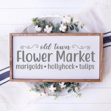 Load image into Gallery viewer, Old Town Flower Market Painted Wood Sign White