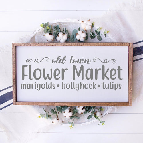 Old Town Flower Market Painted Wood Sign White