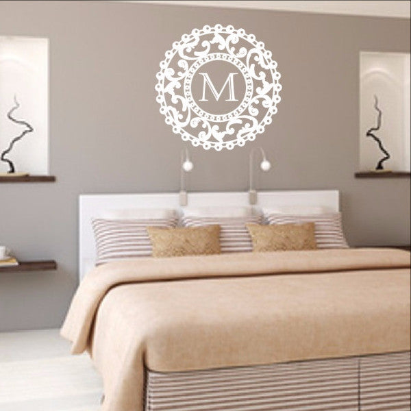 Ornate Round Medallion Frame With Monogram Vinyl Wall Decal 22382 - Cuttin' Up Custom Die Cuts - 1