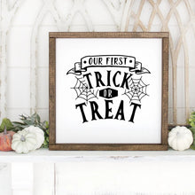Load image into Gallery viewer, Our First Trick Or Treat Hand Painted Framed Wood Sign Small White Board Black Lettering