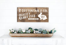 Load image into Gallery viewer, P Cottontail & Company Quality Rabbit Feed Painted Wood Sign Dark Walnut