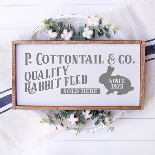 P Cottontail & Company Quality Rabbit Feed Painted Wood Sign White