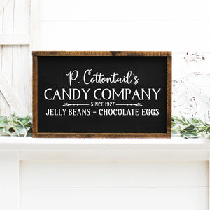 P Cottontails Candy Company Painted Wood Sign Black