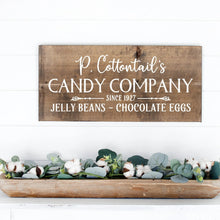 Load image into Gallery viewer, P Cottontails Candy Company Painted Wood Sign Dark Walnut