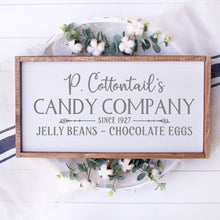 Load image into Gallery viewer, P Cottontails Candy Company Painted Wood Sign White