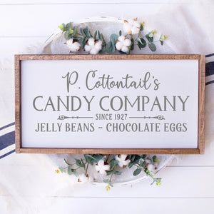 P Cottontails Candy Company Painted Wood Sign White