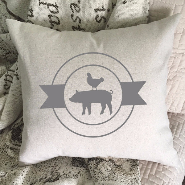 Pig and Chicken Rustic Farmhouse Style Throw Pillow Cover 22604