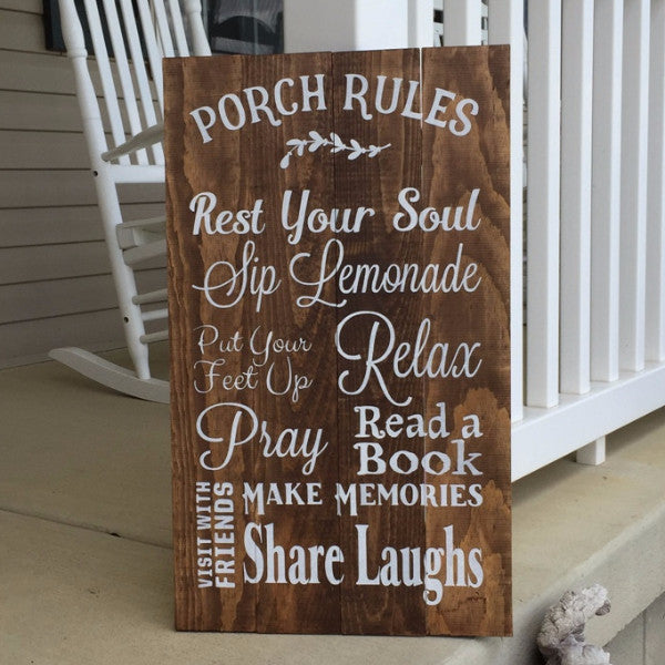 Porch Rules Hand Painted Wood Sign
