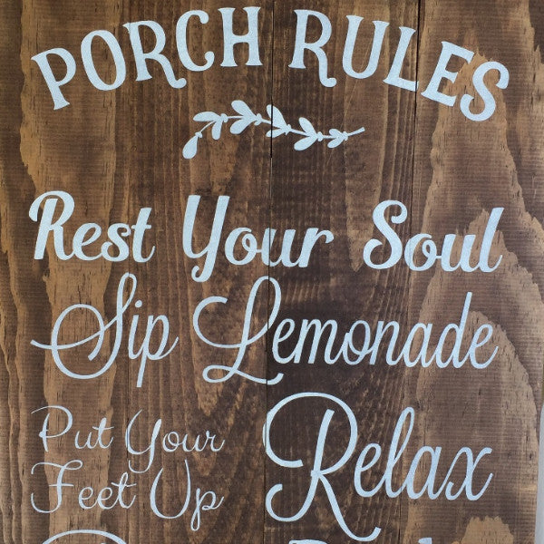 Porch Rules Rustic Sign