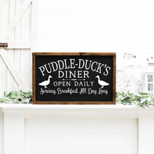 Load image into Gallery viewer, Puddle Ducks Diner Painted Wood Sign Black