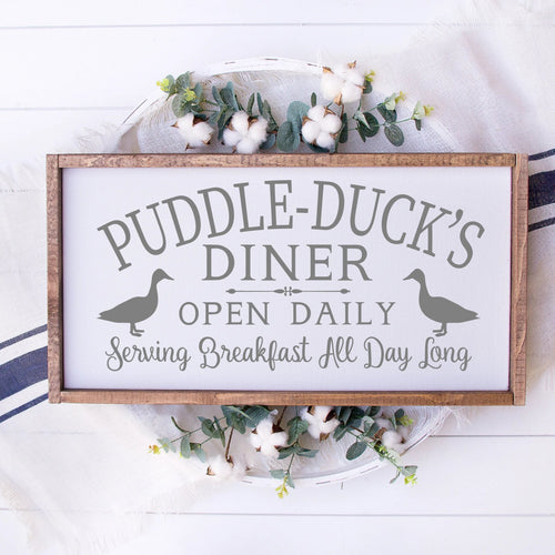 Puddle Ducks Diner Painted Wood Sign White