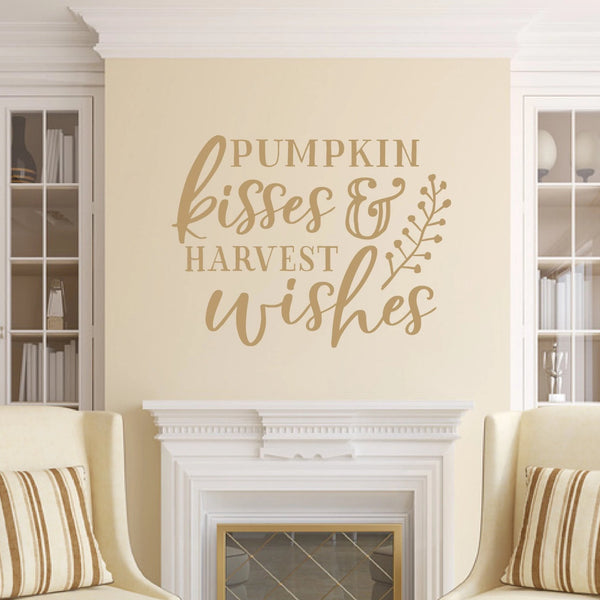 Pumpkin Kisses And Harvest Wishes Vinyl Wall Decal Style B Light Brown