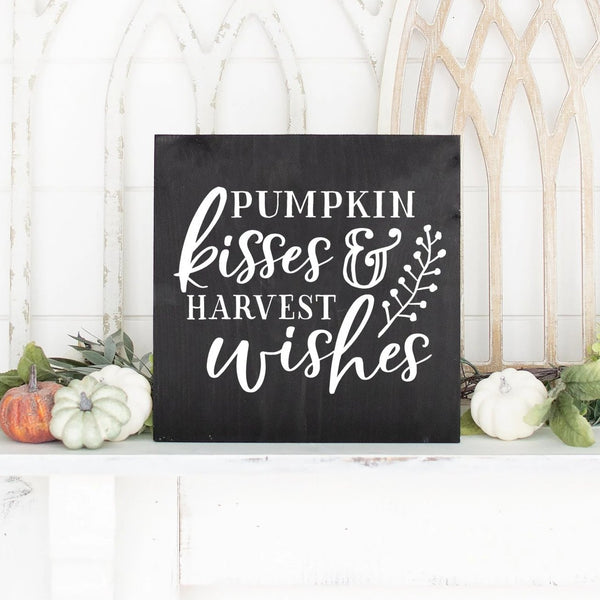 Pumpkin Kisses And Harvest Wishes Hand Painted Wood Sign Black Board White Lettering