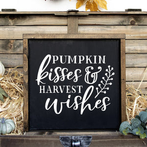 Pumpkin Kisses And Harvest Wishes Hand Painted Wood Sign Black Board White Lettering Framed