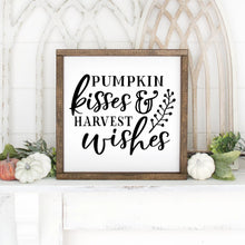 Load image into Gallery viewer, Pumpkin Kisses And Harvest Wishes Hand Painted Framed Wood Sign White Board Black Lettering