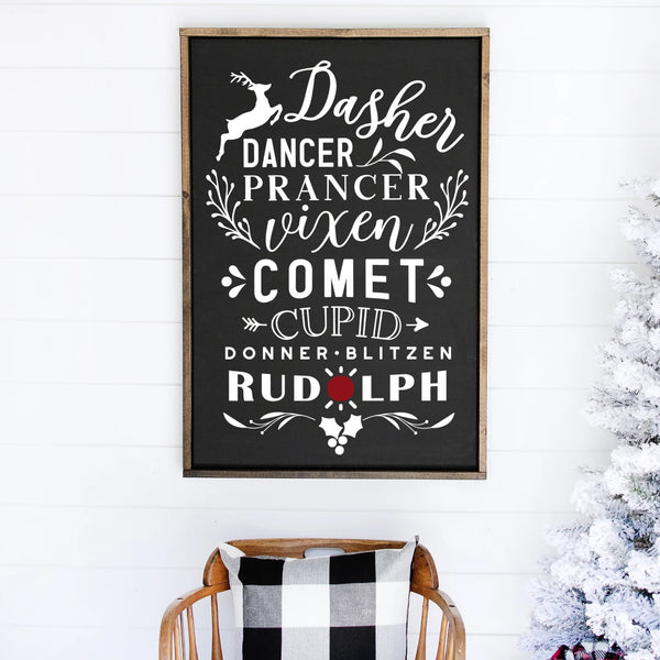 Reindeer Names Painted Wood Sign Black Sign White Lettering