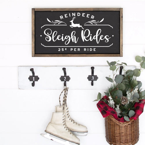 Reindeer Sleigh Rides Painted Wood Sign Black Board White Lettering
