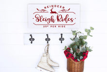 Load image into Gallery viewer, Reindeer Sleigh Rides Painted Wood Sign White Board Charcoal Lettering