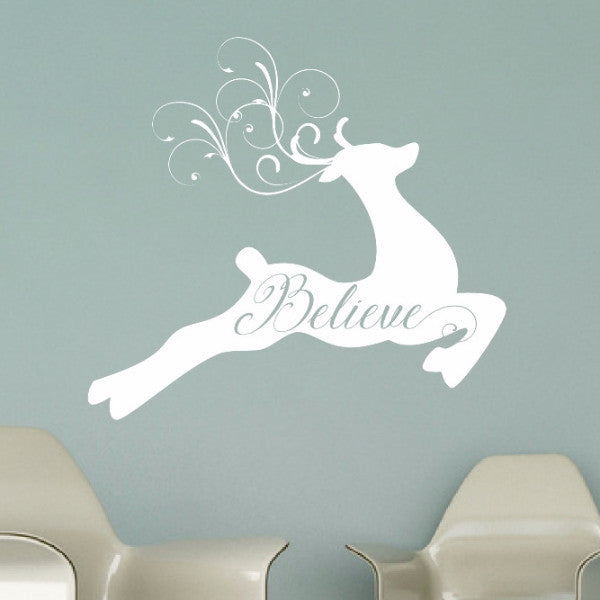 Reindeer With Believe and Swirly Antlers Vinyl Wall Decal 22595