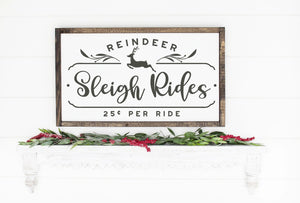 Reindeer Sleigh Rides Painted Wood Sign White Board Red Lettering