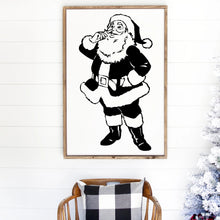 Load image into Gallery viewer, Santa Claus Painted Wood Sign White Board Black Image